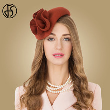FS גבירותיי צמר Fascinator כובעי לחתונה נשים אלגנטי תה מסיבת רשמי בציר הפילבוקס HatFelt פרח מגבעות לבד מגבעת Femme