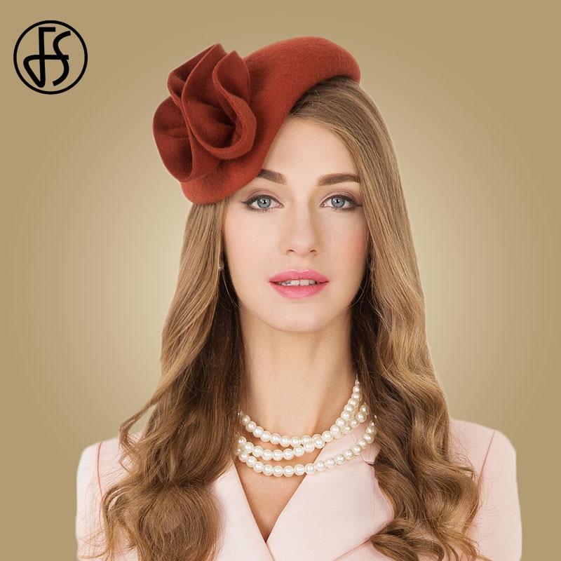 08f7f690 FS Ladies Wool Cocktail Hat Wedding Fascinator Hats For Women Formal Pillbox  Felt Tea Party Flower Fedoras Chapeau Femme Vintage