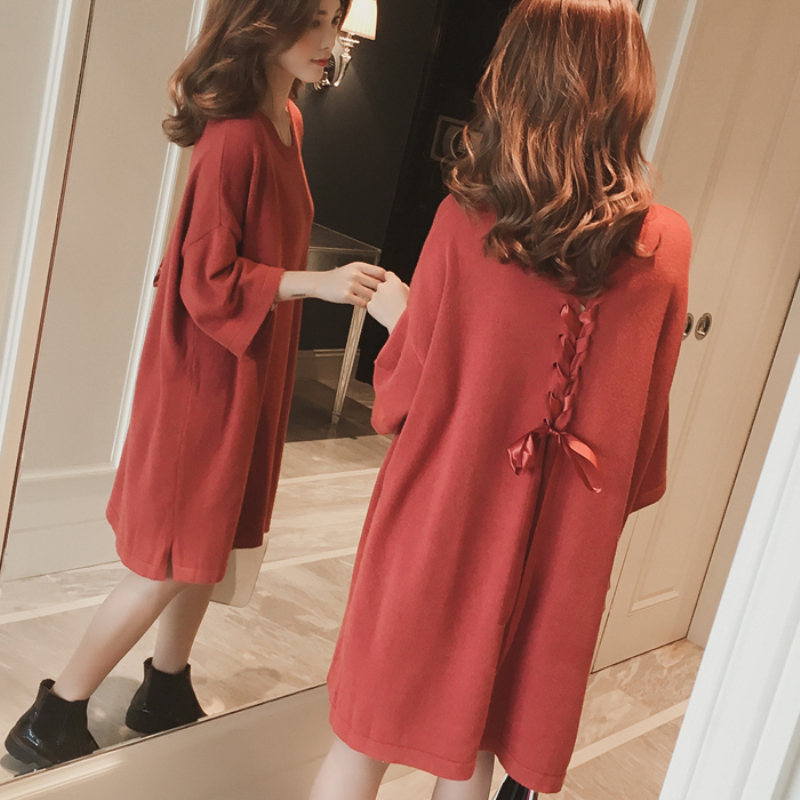 Maternity Knit Plus Size Dresses for Pregnant Women Back Bowknot Loose Korean Fashion Sweater Dresses Pregnancy Clothes 3colors plus size geometric loose sweater kimono cardigan