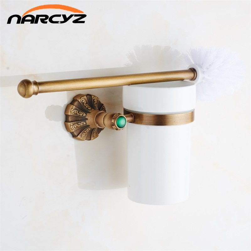 Luxury Antique Bronze Finish Toilet Brush Holder With Ceramic Cup Bath Decoration Bathroom Accessories 9082K european luxury bathroom accessories antique bronze toilet brush holder bath products high quality free shipping