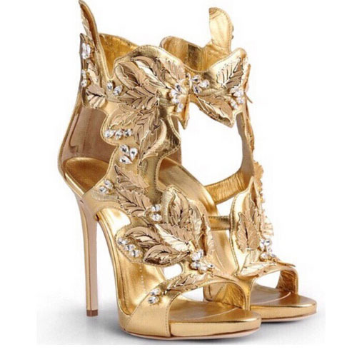 2017 Newest Women Gold High Heel Gladiator Sandals Elegant