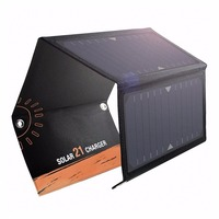 Hyleton Foldable Solar Powered Charger 5V 21W Solar Panels 2 USB Ports Waterproof fast charger for Camping Hiking Climbing