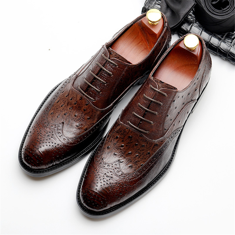 Genuine cow leather brogue Wedding shoes mens casual flats shoes vintage handmade oxford shoes for men black wine red spring aardimi 100% cow leather oxford shoes for woman spring