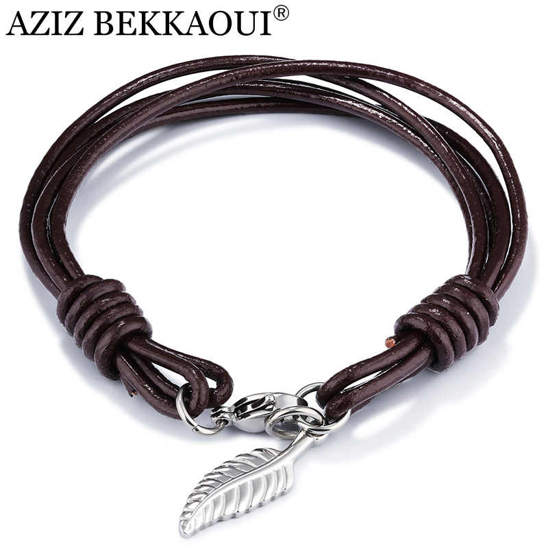 AZIZ BEKKAOUI Genuine Leather Bracelet for Men Punk Cross Stainless Steel Rope Chain Bracelets Male Heart Pendant Bracelet Gift