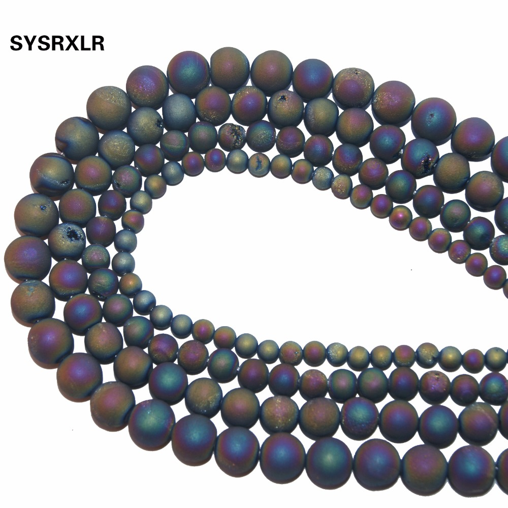 Free Shipping Natural Stone Round Matte Colorful Frosted Drusy Agata loose Beads For Jewelry Making DIY Bracelet 6 8 10 12 MM in Beads from Jewelry Accessories