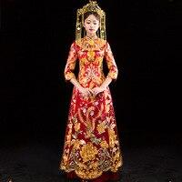 Красный китайский традиционный свадебное платье вышивка Cheongsam Длинные Vestido Oriental Дракон костюм Феникса невесты традиции
