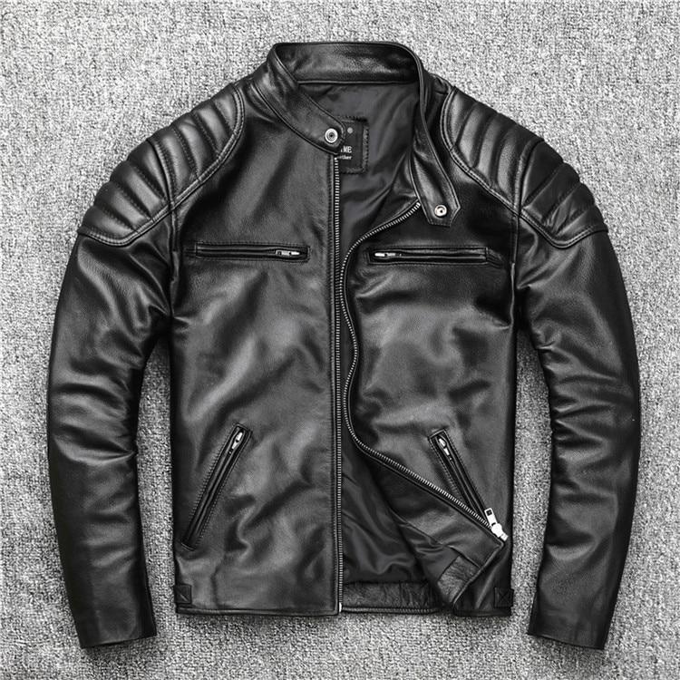 Free shipping fashion style warm mens leather coat biker cowhide Jacket black genuine Leather coat plus Free shipping.fashion style warm mens leather coat,biker cowhide Jacket,black genuine Leather coat.plus size homme slim,cool