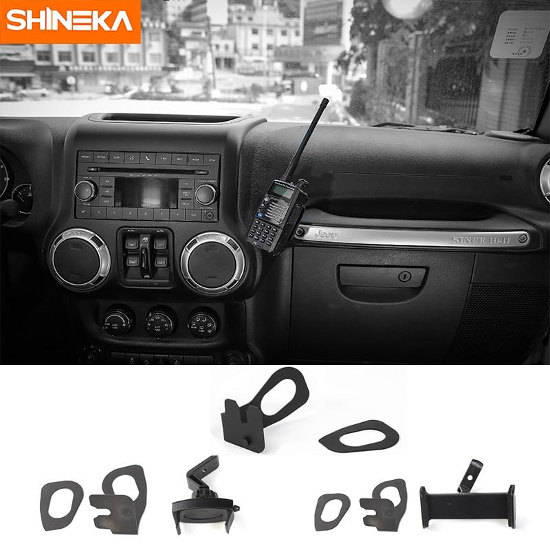 цена на SHINEKA Car GPS Bracket for Jeep Wrangler JK Interphone Support Holder Phone Ipad Holder for Jeep Wrangler JK 2012+ Accessories
