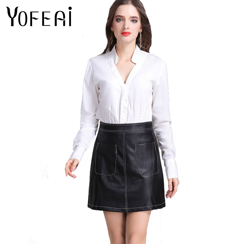 Aliexpress Yofeai 2018 Women Skirts Mini Y Pu Leather Double Pocket Short Skirt Office Female Clothes From Reliable