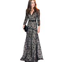 Top Quality Deep V Neck Elegant Party Dresses Palace Lace Dress Princess Kate Maxi Floor Length
