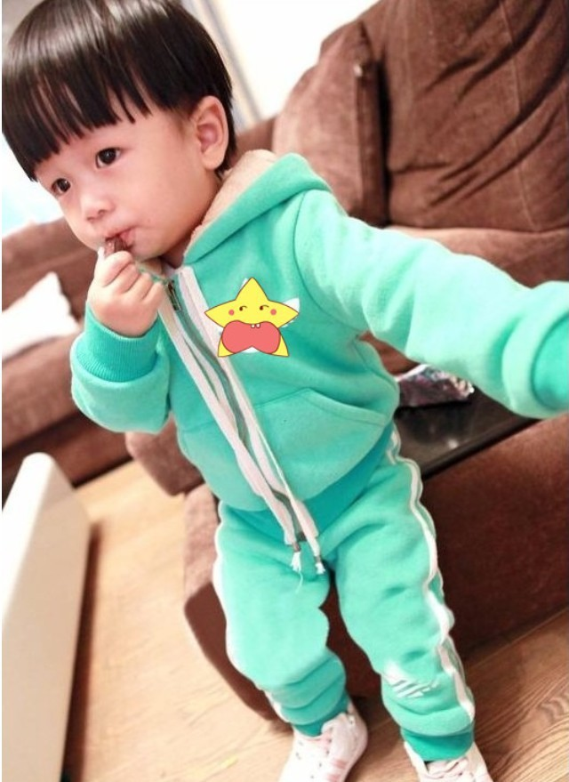 2015 Rushed Christmas Sets Clothing Set Retail Autumn Winter Children Cotton-padded Suit (jacket + Pants) Free Shipping In Stock children s sets 2015 autumn and winter leisure fleece suit boy s jacket and pants