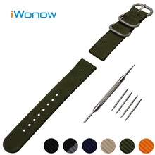Nylon Watch Band 18mm for Asus Zenwatch 2 Girls WI502Q Stainless Metal Pin Buckle Strap Wrist Belt Bracelet Black + Spring Bar