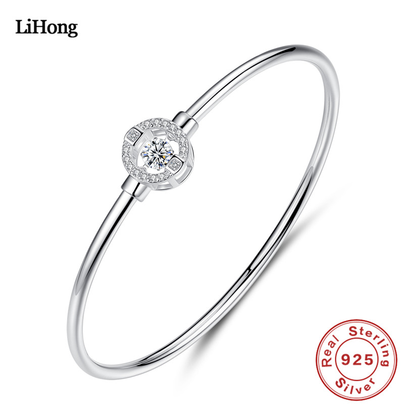 New Design 100% 925 Sterling Silver Bracelet Love Bounce AAA Zircon Crystal Woman Birthday Gift