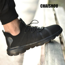 men Work shoes Mesh breathable lace-up outdoor Platform male casual flat shoes Anti-smashing anti-piercing lsafety Boots CS-151