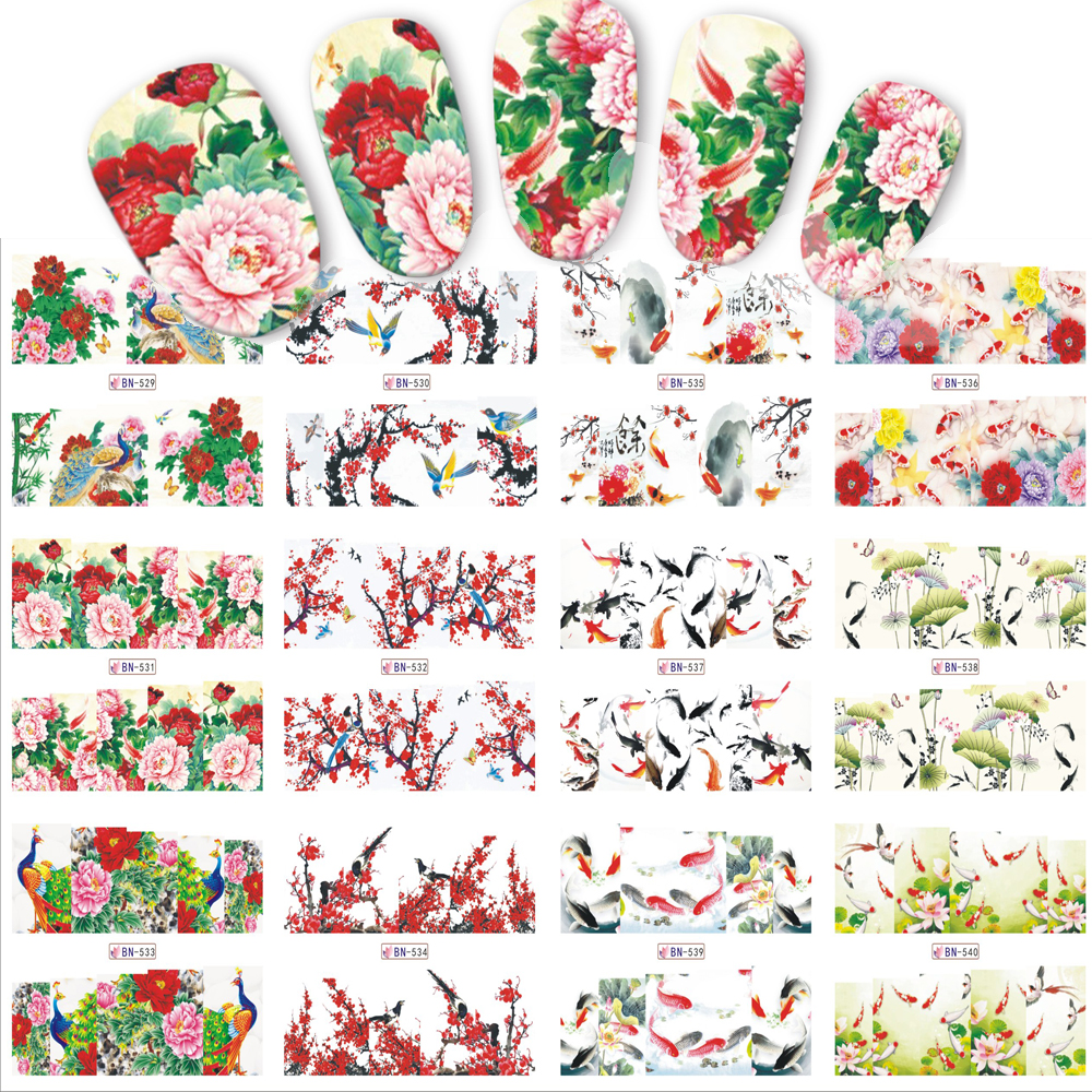 12 Designs/Sätze Nagel Aufkleber Chinese New Year Thema Muster ...