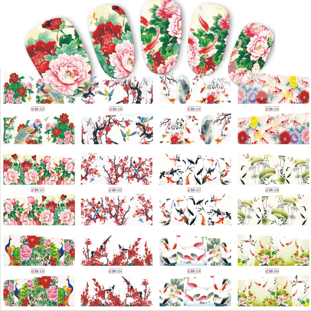12 designssets nail sticker chinese new year theme pattern watermark tips nails decals full