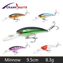 CRANK BAITS Minnow Fishing Lure 9.5cm 8.3g Hard Baits Artificial Quality Crankbait Wobblers Bass Pike 6# Hooks Floating YB122