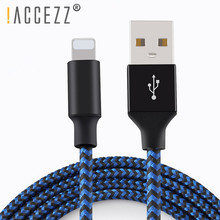 !ACCEZZ USB Cable Nylon Charger Data Line For iPhone XS MAX XR X 7 6 Charging Sync Cables iPad Lighting Charge Cord Wire 3M