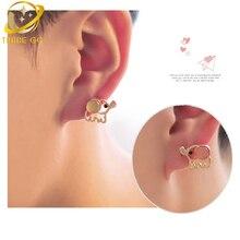cute animal stud earrings women brinco aretes fashion jewelry boucle d'oreille studs oorbellen opal elephant earing цены