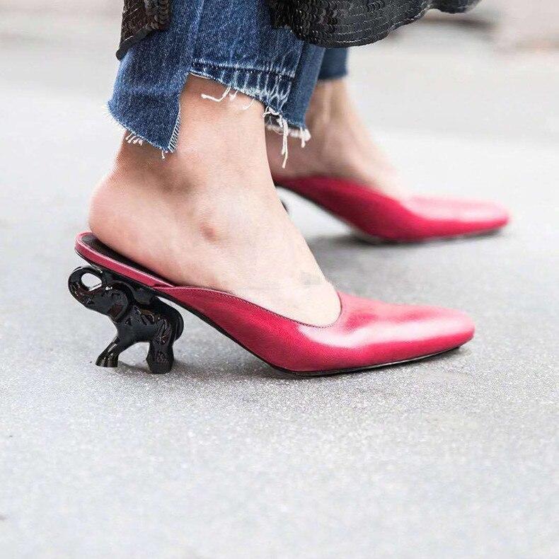 628be110fd82d0 Plage Étrange Haute New Sur Chaussures Elephant black Femmes Red Suede  Black Pantoufles rose Air D'été Slip Cuir Leather Mules Plein En Summer  Talon ...