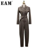 EAM 2018 New Spring Lapel Long Sleeve Coffee Plaid Loose Long Solid Color Rompes Women