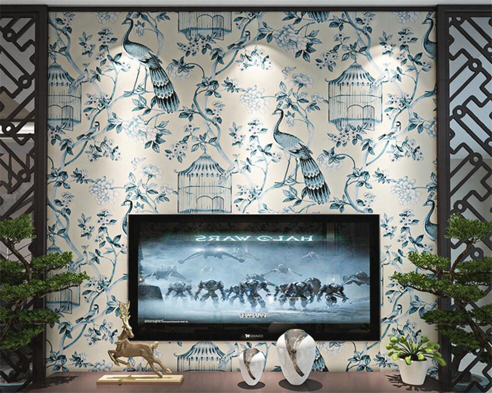 Beibehang Flowers painted wallpaper bedroom living room background wall wallpaper art study 3d wallpaper roll papel pintado blue earth cosmic sky zenith living room ceiling murals 3d wallpaper the living room bedroom study paper 3d wallpaper