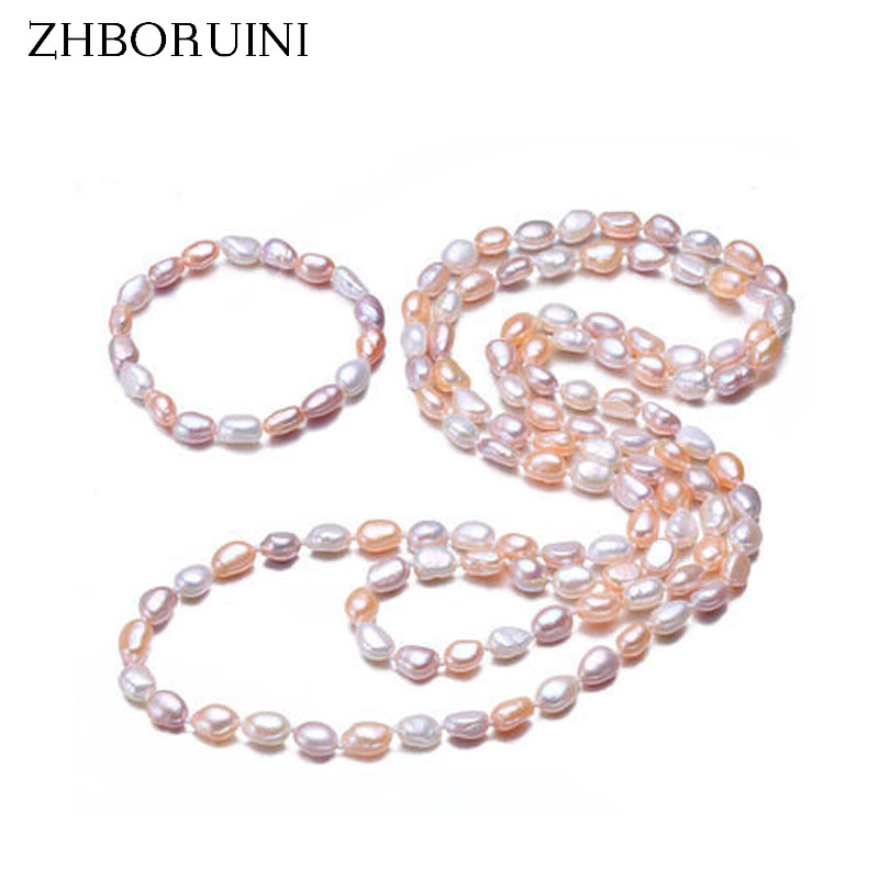 ZHBORUINI Fashion Long Pearl Necklace Baroque Natural Freshwater Pearl Sweater Chain Charm Necklace For Women Statement Necklace exquisite faux pearl embellished multi layered alloy sweater chain necklace for women
