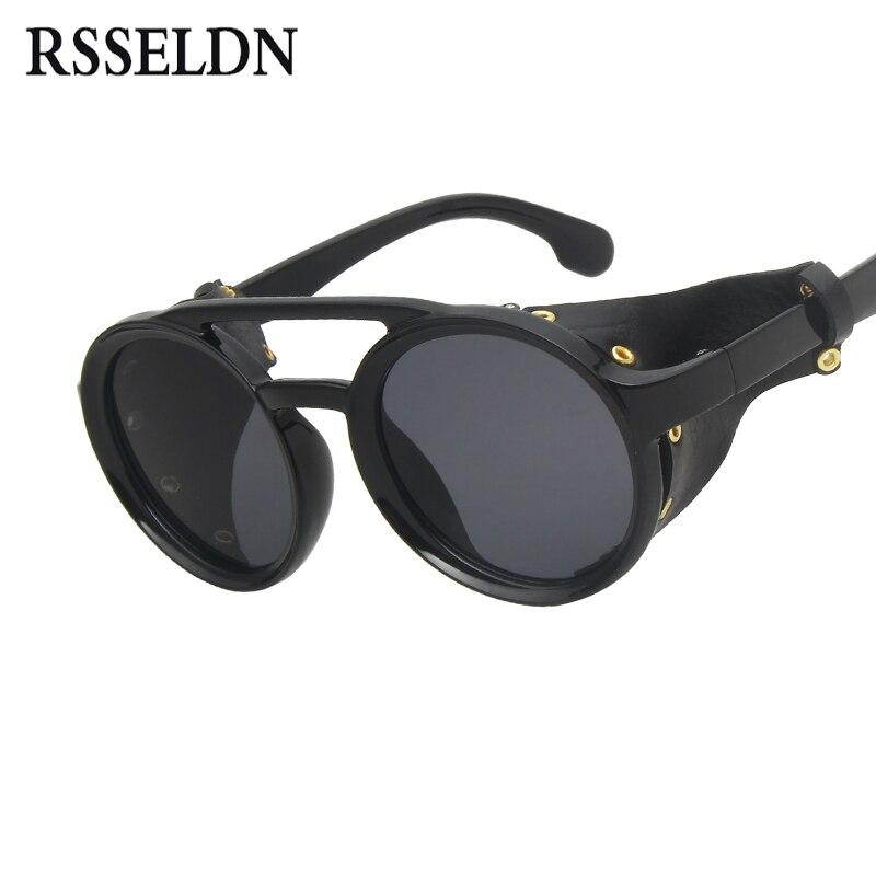 e87a9cbe5 RSSELDN 2019 الأزياء خمر الشرير SteamPunk نمط جولة النظارات الشمسية الرجال  النساء العلامة التجارية تصميم جلدية