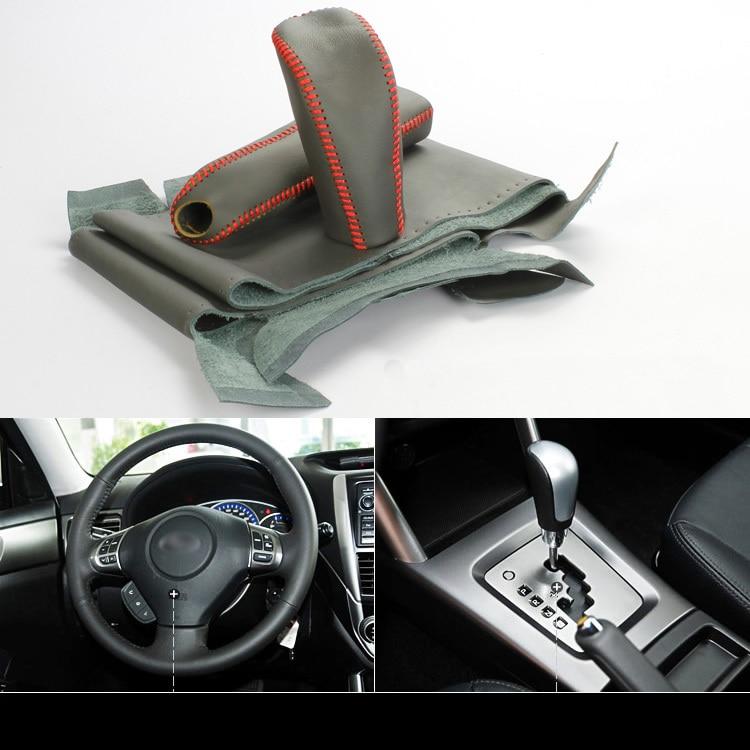 Savanini Топ теплые шить-на всех черный Натуральная кожа руль Обложка для Subaru в