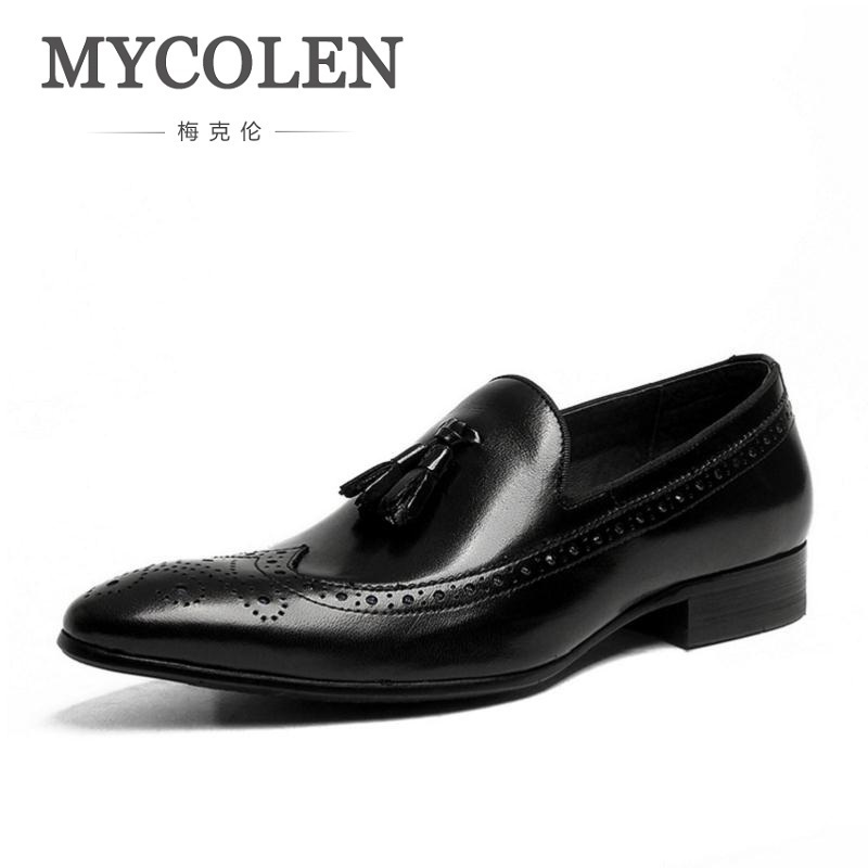 MYCOLEN Brand Handmade Mens Formal Shoes Genuine Leather Black Fashion Tassel Male Shoes Men Top Quality Carving Formal Flats top quality crocodile grain black oxfords mens dress shoes genuine leather business shoes mens formal wedding shoes
