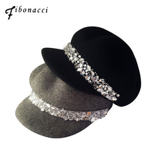 Fibonacci Wool felt Equestrian Knight Hat for Women Cap Fashion Rhinestone Octagonal Concave Convex Fedora