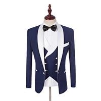 (Jacket+Pants+Vest+Bow Tie) Blue Groom Tuxedos White Lapel Men Suits With Pants New Classic Wedding Business Slim Fit Suit