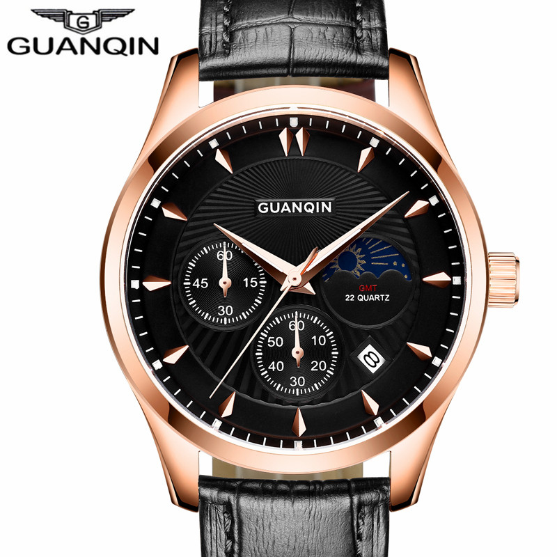 ФОТО Watches Men 2016 Luxury Top Brand New Fashion GUANQIN Quartz Watches For Male Waterproof Leather Strap Wristwatch Reloj Hombre