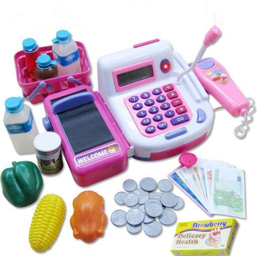 Kids Supermarket Cash Register Electronic Toys with Foods Ba