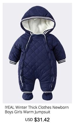 47d4827c9 IYEAL bebé recién nacido mameluco overoles de invierno de algodón de manga  larga bebé niño con capucha mono caliente niños niña ropa bebé Outwear