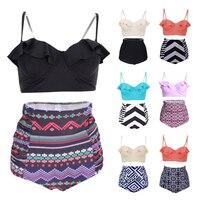 Sexy Floral Printed Summer Beach Bathing Suit Push Up Swimsuit Women Swimwear Bikini Set High Waist