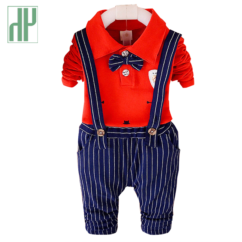 HH 1-4years Kids Clothing set 2pcs Boys clothes Cotton Shirt + stripe Pants formal children clothing girls baby wedding suits fashion kids baby girl dress clothes grey sweater top with dresses costume cotton children clothing girls set 2 pcs 2 7 years