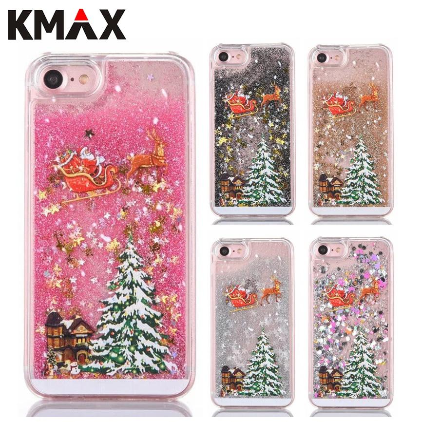 KMAX Рождественский подарок для iPhone 5S 6 6 S 7/8 плюс телефон чехол для samsung S5 <font><b>S6</b></font> S7 край блеск Жидкость зыбучие пески ПК Жесткий Прозрачная крышка
