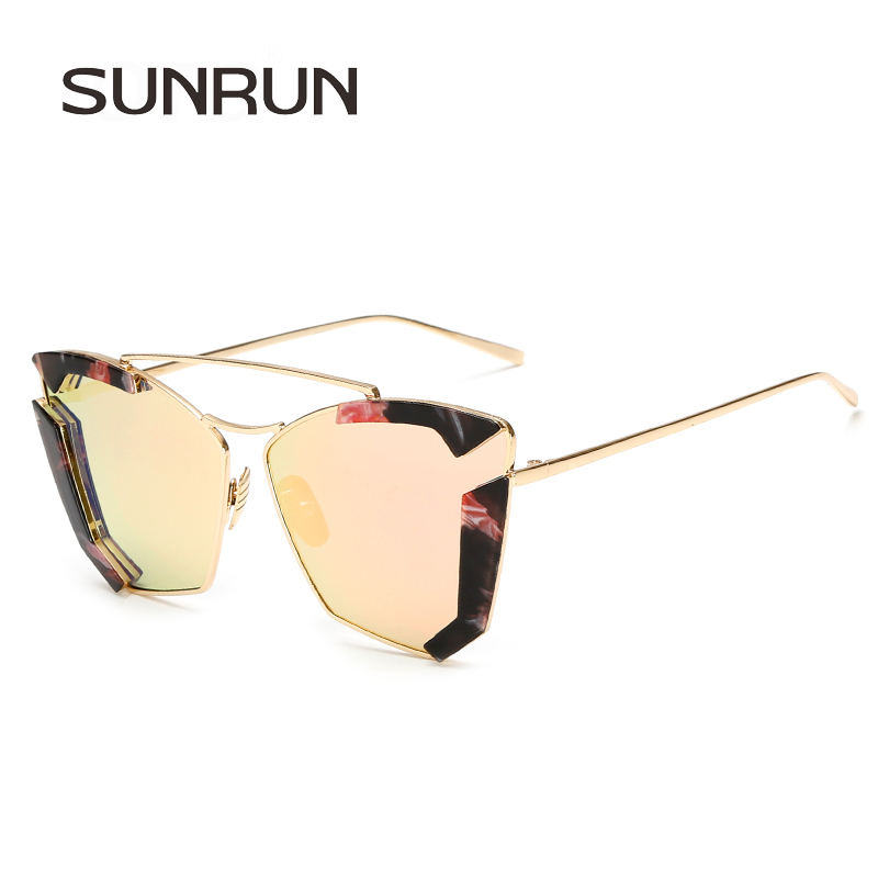 SUNRUN Fashion Cat Eye Women Sunglasses Classic Double Bridge Shades Brand Designer  Sun Glasses Metal Frame 12e9feda49