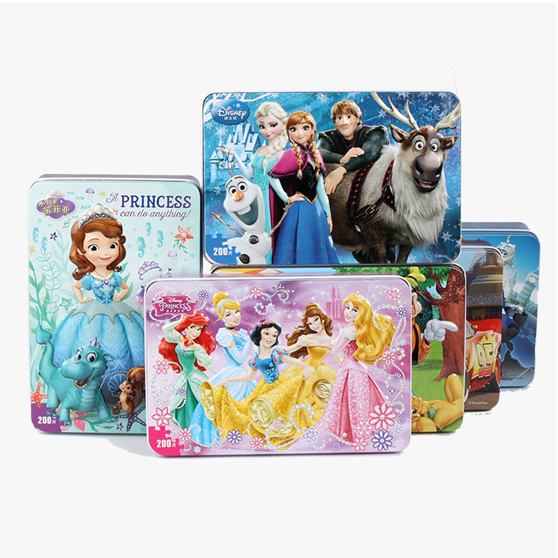 200pcs/set Wooden Puzzle Cartoon 3D Wood Puzzle Iron Box Package Jigsaw Puzzle For Children Early Educational Montessori Toys