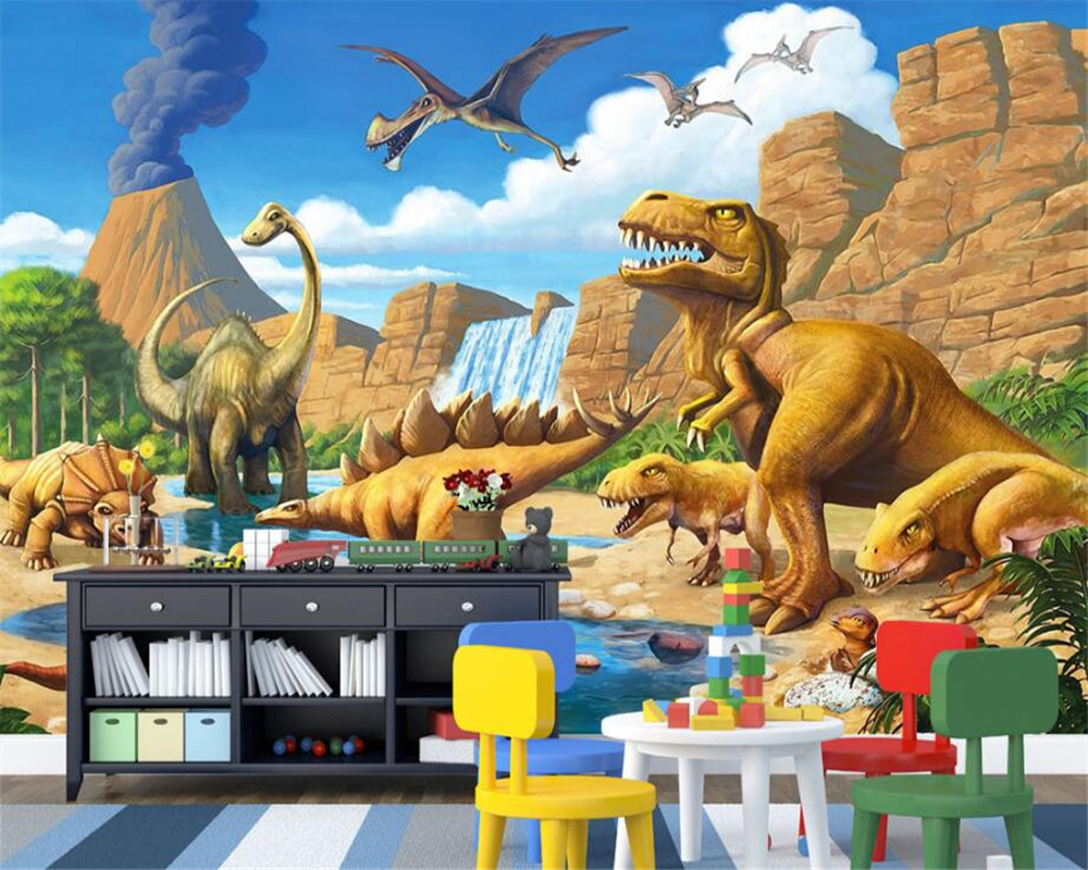 Beibehang Custom Wallpaper Fantasy Lake Jurassic Dinosaur Tyrannosaurus Rex Longtong Kids Room Backdrop Wall Mural 3D Wallpaper