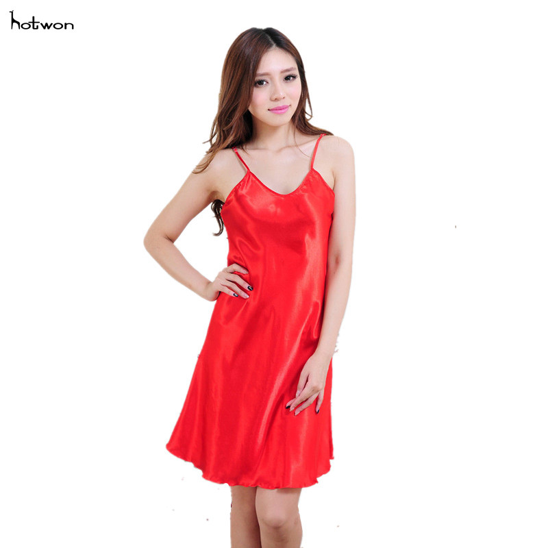 2017Fashion Sexy Nightwear Silky Chemise Nightie Nightdress Sleepwear Slip Dress