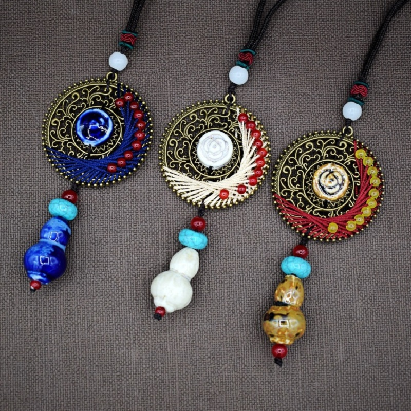 Long Necklaces Pendants for Women jewelry simple ceramic necklaces Retro woman s fashionable necklace pendant choker Bijoux in Pendant Necklaces from Jewelry Accessories