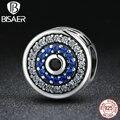 925 Sterling Silver Azul Cristais Olhos Encantos Beads fit Pulseira Pandora Original Original Belas Jóias DIY Fazer Acessórios