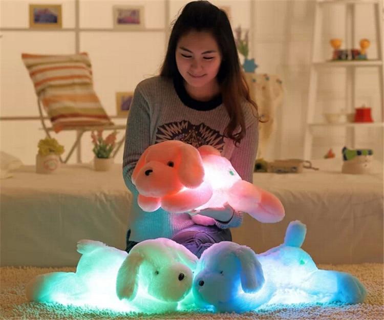 32cm / 45CM Kawaii ფერადი შეცვლა Teddy Dog Luminous Cute Soft Soft Led Light Plush Toys საბავშვო სათამაშოები ბავშვთა დაბადების დღის საჩუქარი საბითუმო