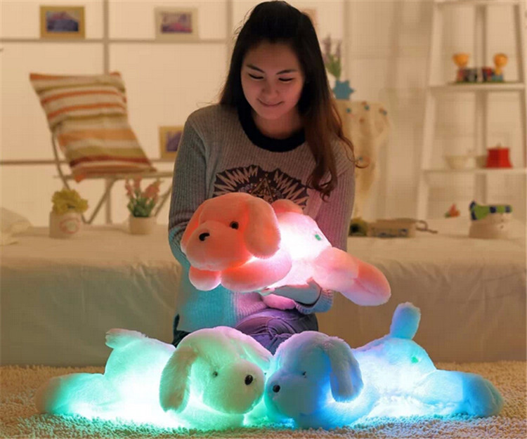 Colorful Change 50CM Teddy Dog Luminous Cute Soft  Led Light Plush Toy Kids Toys Children Birthday Gift Wholesale super cute plush toy dog doll as a christmas gift for children s home decoration 20