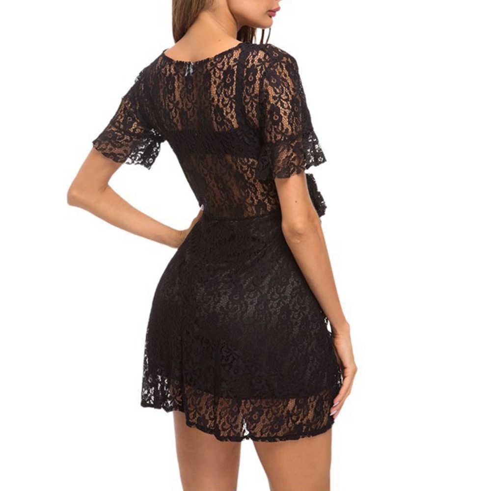 Kenancy Kadın Dantel Elbise Yaz Seksi V Boyun Kısa Kollu A-Line Mini Elbise Feminino Vestidos Yüksek Bel Siyah Parti Elbiseler