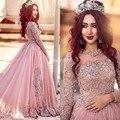 2017 Árabe Mangas Compridas vestido de Baile Vestidos de Baile Vestido de noiva dever Rosa Frisada Lace Tulle Prom Vestido de Festa Longo Vestidos de Noite