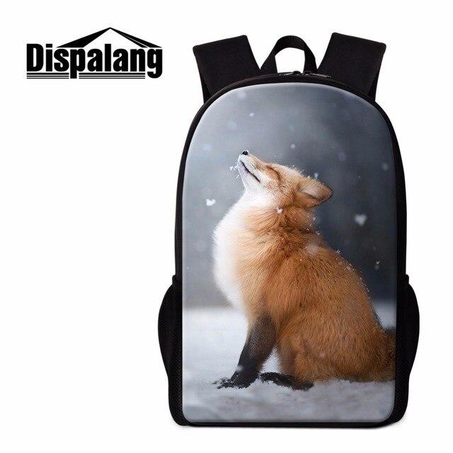 Dispalang Fox Backpack for Chidlren Primary Students School Bookbags Elementary Mochilas Cool Animal Rucksack for Teen Girls