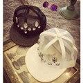 2015 Fashion Women Rhinestone Net Caps Unique Flat Brim PU Leather Cap Gauze Mesh Baseball Cap hiphop Female Summer Sun Hats